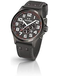 TW Steel Unisex-Armbanduhr Pilot Chronograph Leder Grau TW422