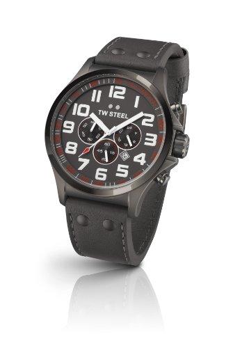 TW Steel - TW422 - Montre Mixte - Quartz Chronographe - Bracelet Cuir Gris