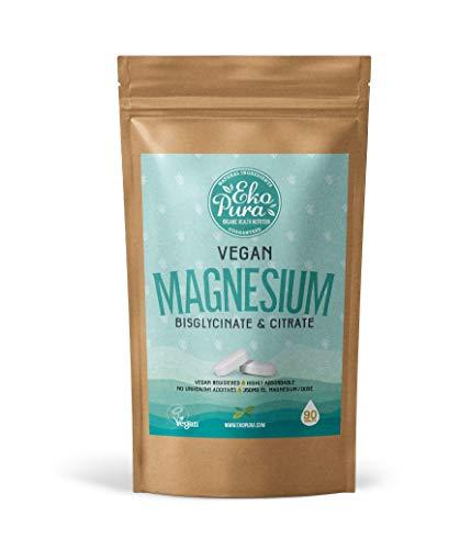 Magnesio Vegano - Bisglicinato y Citrato - 350 mg por dosis, 90 comprimidos por paquete
