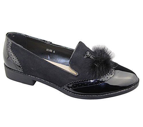 Womens Slip On Black Tassel Ladies Casual Patent Flat Oxford Loafers Vintage Brogues Pumps Shoes Size 41