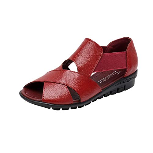 Mitlfuny Damen Sommer Sandalen Bohemian Flach Sandaletten Sommer Strand Schuhe,Frauen Sommer Rom Stil Freizeitschuhe Leder Keilabsatz Open Toe Komfort Sandalen