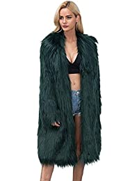 LLDHWX Abrigo de Piel sintética de Moda para Mujer Modelo Largo Color sólido Diseño de Pelo