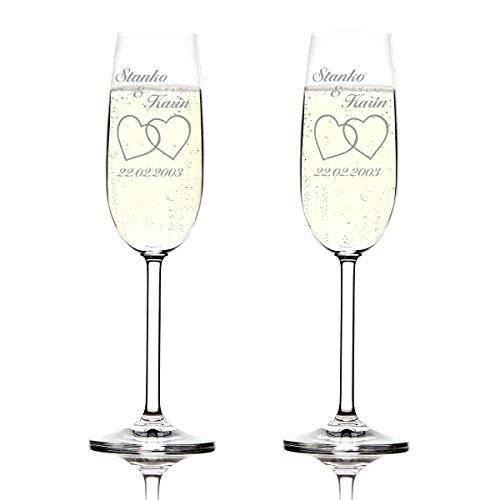 Set Montana verres de champagne avec gravure Motiv - Deux cœurs schlichte
