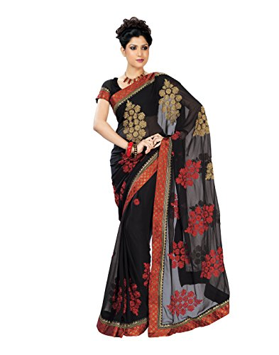 Chirag Sarees Synthetic Saree (8222_Black)