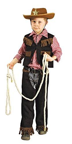 narrenkiste K31250506/T2872-116-128 schwarz-braun Kinder Cowboyanzug Sheriffkostüm - Schwarze Cowboy Chaps & Weste Kostüm