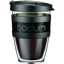 Bodum - 11674-01S-1 - Mug à Emporter Isotherme avec Couvercle - Plastique - Noir