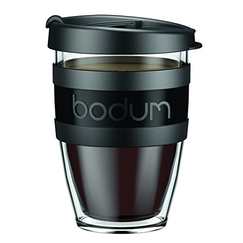 Bodum 11674-01S-1 Mug à Emporter Isotherme avec Couvercle, Plastique, Noir, 7,8 x 8,4 x 11,7 cm