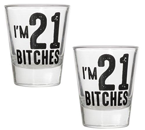 I 'm 21Bitches Shot Glas-Feiern Drehen Twenty One 21Geburtstag Schnapsgläser 1.5 oz 2 Shot Glasses (Geburtstag 21. Shot Glas)