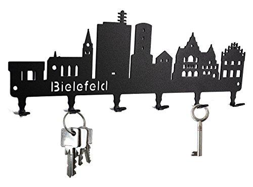 steelprint.de Schlüsselbrett/Hakenleiste * Skyline Bielefeld * - Schlüsselboard Nordrhein-Westfalen, Schlüsselleiste, Metall - 6 Haken