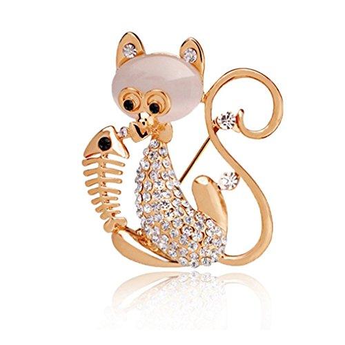 sewanz Damen Elegante Gold Ton Strass Kitty Cat Brosche Pins, Metall Schmuck Corsage Kostüm (Cat Kostüme Zubehör Womens)