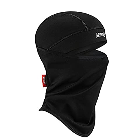 Aegend Balaclava Polyester Fleece Ski Face Mask for Women Men Youth Tactical Balaclava Hood for Motorcycle Snowboard Cycling Outdoors in Winter Neck Warmer or Lightweight Windproof Hat-Black, 1 Piece