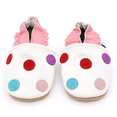 Flowers and Pretty Designs for Girls. Animals Dotty Fish Soft Leather Baby Shoes with Non Slip Suede Soles 0-6 Months to 4-5 Years Toddler Shoes