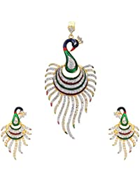 Adiva Bridal Jwelleries Maroon Green Metal Alloy Jewellery Set With Pendant And Earrings For Women