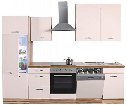 Küche Rita 280 cm Küchenzeile/Küchenblock variabel stellbar in Creme+Baltimore