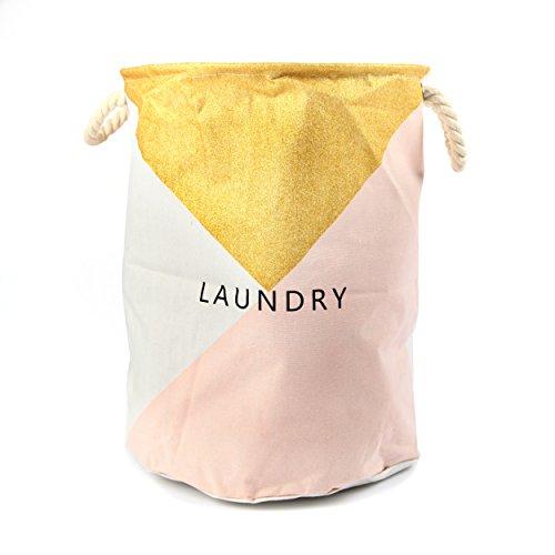 Pink Papaya Wäschesack Kharin im angesagtem Design, formstabiler Baumwoll Wäschekorb für ihre Schmutzwäsche, Farbe: gold & rosa