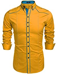 Amazon.co.uk: Yellow - Shirts / Men: Clothing