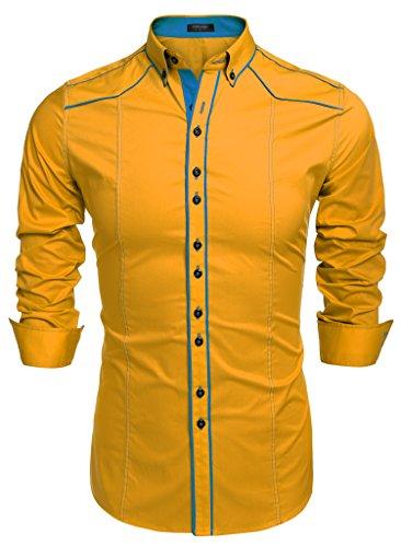 Coofandy Chemise Homme Manche Longue Coton Contrasté Col Italien Boutonné Casual Taille S-XXXL Jaune
