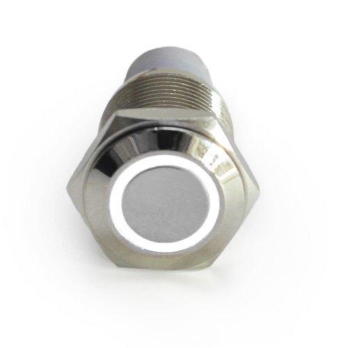 HOTSYSTEM 16mm 12V Selbsthaltender Schalter Metall LED Beleuchtet Drucktaster Druckschalter Druckknopf Ein-Ausschalter für Auto KFZ Weiß