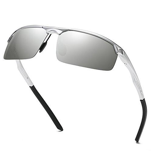il Polarisierte Sonnenbrille Metallrahmen Brille 8550 (Silber) ()