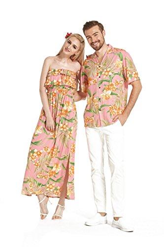 Camisa-a-rayas-con-cuello-alto-y-hombros-descubiertos-de-Hawaii-con-hombros-descubiertos-Floral-rosa-naranja-floral