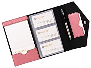 Resilient Business Card Book, Faux Leather, Pink