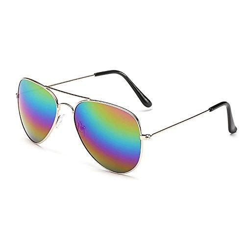 Sonnenbrille Fliegerbrille Brille in vielen Farbkombinationen Klassische Pilotenbrille Verspiegelt Unisex Sonnenbrille Damen Herren Pornobrille Sonne Sommer (C13- Rahmen Gold - Glas Regenbogen)