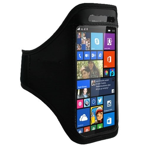 Original Lanboo® Neopren Sport und Jogging Tasche Armband Oberarmtasche Joggingtasche für Microsoft Lumia 535 zum Joggen / Fitness - Schwarz