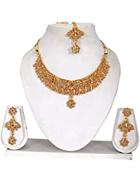Vipin Store Golden Color Stone Wirth Pearl Beads Gold Plated Jewelery Set