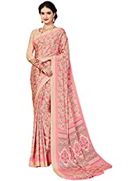 Salwar Studio Women's Peach & Pink Italian Crepe Printed Saree With Blouse Piece