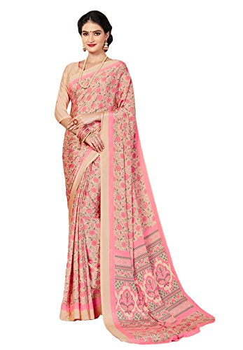 Salwar Studio Crepe Saree With Blouse Piece (Om-0023922_Pink_Free Size)