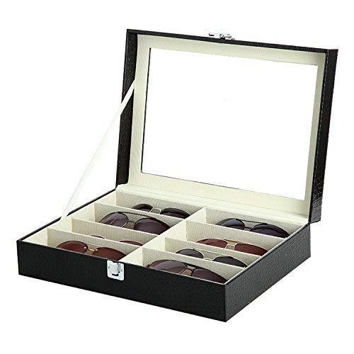 Asvert 8 slots Brillenbox Kasten Gläser Kastenbrillen Anzeigenkasten Sonnenbrillen Aufbewahrungsbehälter Anzeigenkasten, Schwarz