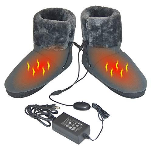 ObboMed MF-2320M 12V 20W wärmende HeizschuHe mti Karbon Heizelementen, mit weicher Sohle, Größe M und L, wärmende Hausschuhe, Infrarot Schuhe, Wärmepolster, Fußwärmer, Aufwärmung Kalter Füße -
