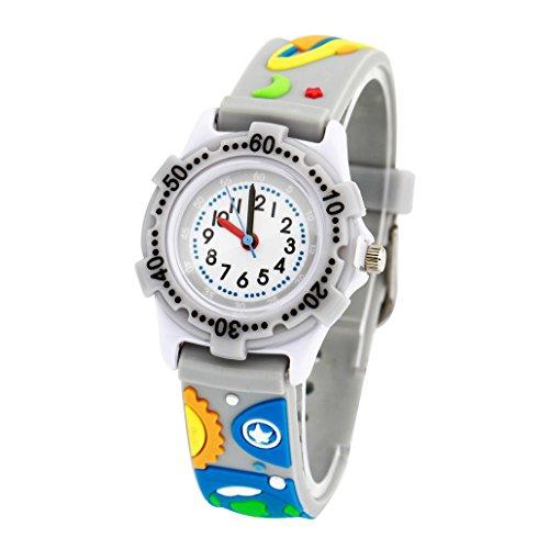 Kinderuhr Junge Armbanduhr Analog Quarz Uhr Gummi-Armband 3D Bilder - Grau - Weltraum