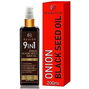 Newish® Onion Black Seed Hair Oil for Hair Growth for Women & Men Dandruff & Hair fall Control 200 ml