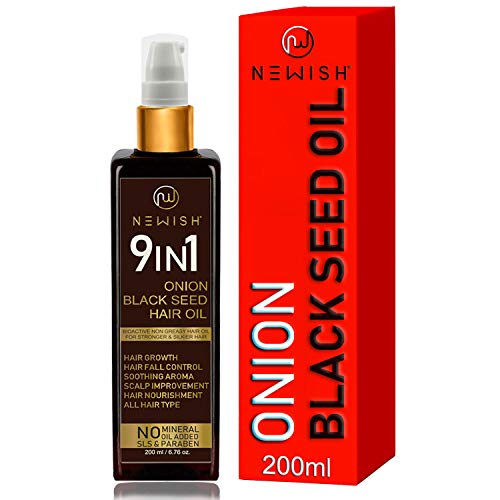 Newish Onion Black Seed Hair Oil for Hair Growth for Men and Women (Kalonji Oil) Dandruff & Hairfall Control 200 ml