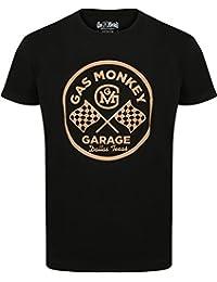 Gas Monkey Garage Camiseta de Round Logo Black–Conocido Por Fast N 'Loud