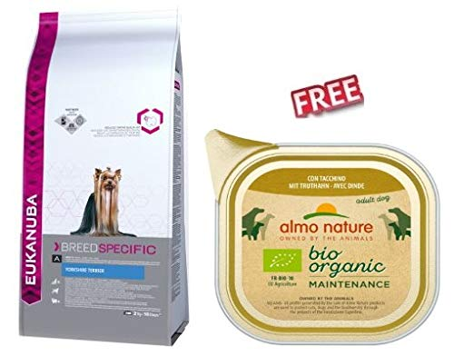 Eukanuba Dog Foof for Yorkshire Terrier Adult 3 x 2kg Complete and Well-balance Diet Promote Healthy Skin Shiny Coat Healthy Teeth FREE Almo Nature BioOrganic Maintenance