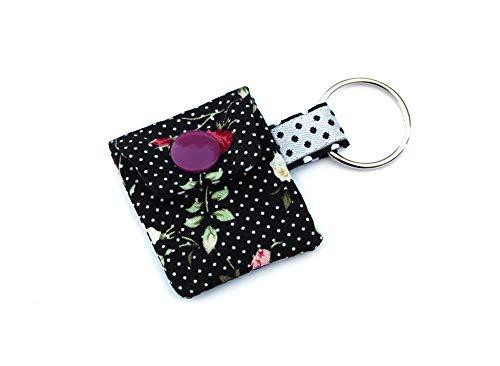 Rosen Punkte Schwarz Chiptäschchen mit Chip Einkaufschiptasche Schlüsselanhänger aus Stoff Einkaufswagen-Chip Rose-chip