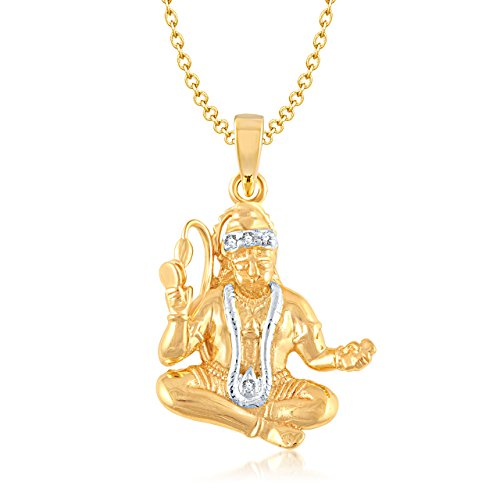 V. K. Jewels Lord Hanuman Gold and Rhodium Plated Alloy God Pendant for Men & Women Made with Cubic Zirconia - PS1011G [VKP1011G]