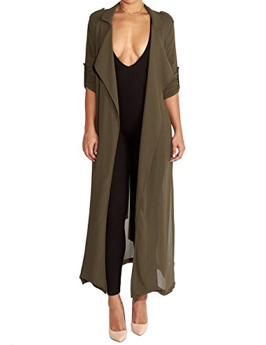 AJ FASHION Women's Long Sleeve Chiffon Lightweight Maxi Sheer Duster Cardigan