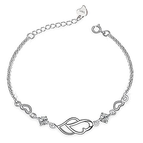 Weeno 925 Sterling Silver Linked Hearts in Love with Cubic