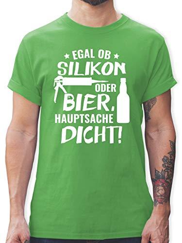 Sprüche - Egal ob Silikon oder Bier Hauptsache Dicht - L - Grün - L190 - Herren T-Shirt Rundhals -