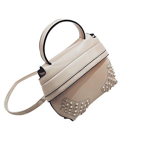 WTUS Damen Neue Tragbare Schulter Mode Wild Niet Normallack Art und Weise Kurier Umhängetasche Zustrom von Frauen Handtasche Satchel Braun