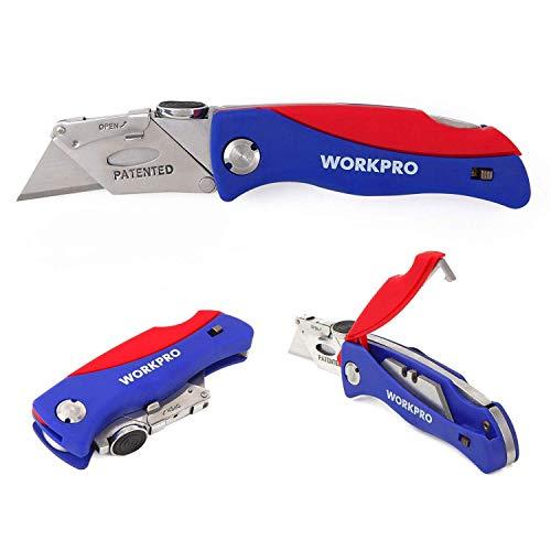 WORKPRO Cutter Messer einziehbar Teppich Messer (Klappmesser (5 Kingen inkl.))