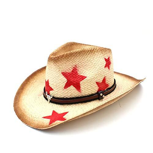 arme Männer Stroh Western Cowboyhut mit Punk verlässt Band Star Lady Dad Sombrero Hombre Cowgirl Jazz Creative (Farbe : Natürlich, Größe : 58 cm) ()