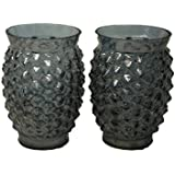 Casa Vendibiles Tea Light Holder-06 Antique Lustre Black(set Of 02 Pcs)