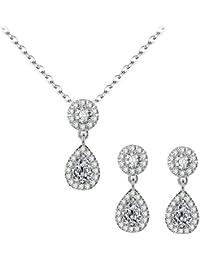 BiBeary Women Zircon CZ Simulated Pearls Tear Drop Flaming elegant Jewellery Set Necklace Earrings Silver-Tone