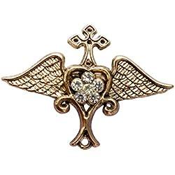 Knighthood Corazón de ala para Hombre con Estrella de Swarovski, Solapa, Broche para Camisa, Color Dorado