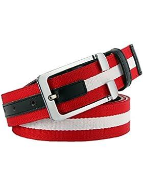 TYGRR Hombres Cinturón De Cuero Hebilla De Aguja Lienzo Rojo Y Verde Costura Cinturón De Moda Cinturón De Moda