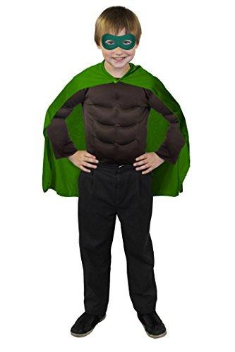 ILOVEFANCYDRESS SUPERHELDEN Hero Kinder Jungen MÄDCHEN KOSTÜM VERKLEIDUNG =GRÜNER UMHANG+GRÜNE Maske +MUSKELSHIRT IN 6 Farben+ 2 GRÖSSEN=Fasching Karneval=BRAUNES Muskel Shirt-Standard (Daredevil-kostüm Für Kinder)